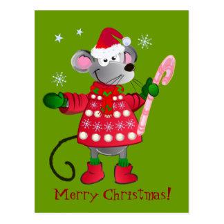 Niedliche Weihnachtsmaus Postkarte