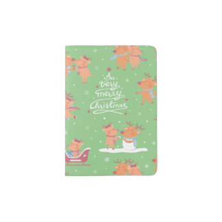 Niedliche Weihnachtsren-Muster-Pass-Abdeckung Passhülle