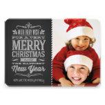 Niedliche Weihnachtstafel-Foto-Schablonen-Karte Einladungskarte