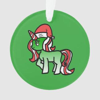 Niedliche Weihnachtsunicorn-Verzierung - grüner Ornament