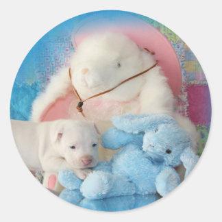 Niedliche weiße Ostern-Welpen-Hunde-u. Runder Aufkleber