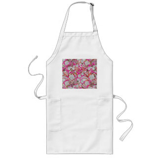 Niedliche weiße rosa Paisley-Muster Lange Schürze