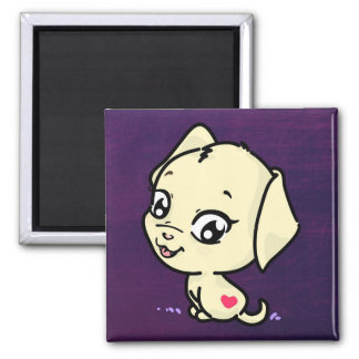 Niedliche Welpen-Hundeillustration Quadratischer Magnet