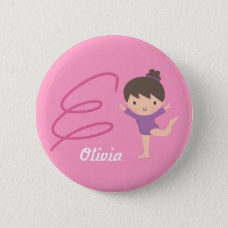 Niedliche wenig Gymnast-Mädchen-und Band-Gymnastik Runder Button 5,7 Cm