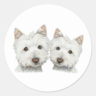 Niedliche Westie Hunde Runder Sticker