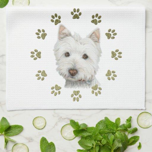 Niedliche Westie Hundekunst und -tatzen Küchenhandtücher