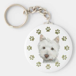 Niedliche Westie Hundekunst und -tatzen Standard Runder Schlüsselanhänger
