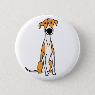 Niedliche Windhund-HundeCartoon-Vorlage Runder Button 5,7 Cm