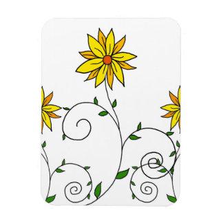 Niedliche wunderliche gelbe Blumen-Gekritzel-Kunst Magnet