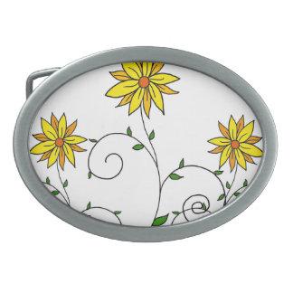 Niedliche wunderliche gelbe Blumen-Gekritzel-Kunst Ovale Gürtelschnallen