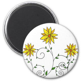 Niedliche wunderliche gelbe Blumen-Gekritzel-Kunst Runder Magnet 5,7 Cm
