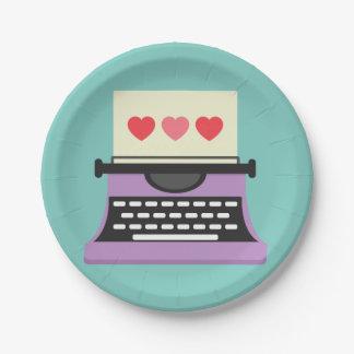 Niedliche wunderliche Schreibmaschine Pappteller
