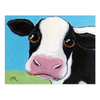 Niedliche wunderliche schwarze u. weiße Kuh-Postka Postkarte