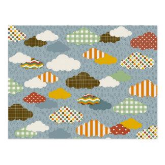 Niedliche wunderliche Wolken-Muster der karierten Postkarten