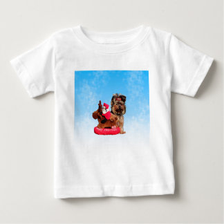 Niedliche Yorkshire-Terrier-frohe Weihnachten Baby T-shirt