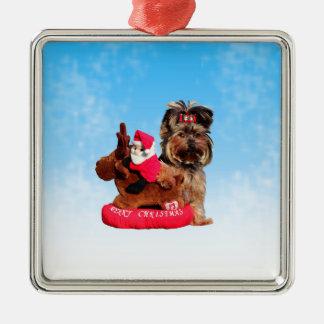 Niedliche Yorkshire-Terrier-frohe Weihnachten Silbernes Ornament