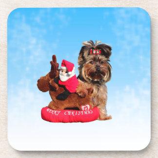 Niedliche Yorkshire-Terrier-frohe Weihnachten Untersetzer