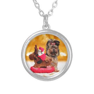Niedliche Yorkshire-Terrier-frohe Weihnachten Versilberte Kette