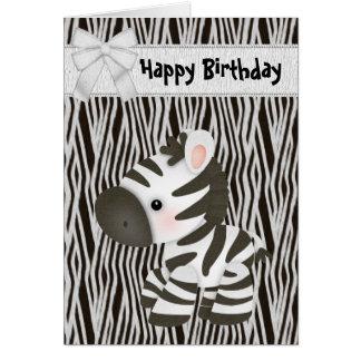 Niedliche Zebra-u. Kuchen-(nach innen) Grußkarte