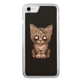 Niedliche Zombie-Kätzchen-Katze auf Schwarzem Carved iPhone 8/7 Hülle