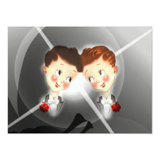 Niedliche zwei Bräutigam-homosexuelle 16,5 X 22,2 Cm Einladungskarte