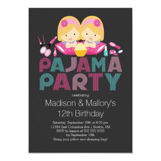 Niedliche ZWILLINGE Tween-Pyjama-Geburtstags-Party 12,7 X 17,8 Cm Einladungskarte