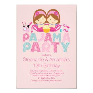 Niedliche ZWILLINGE Tween-Pyjama-Geburtstags-Party Einladungskarte