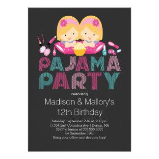 Niedliche ZWILLINGE Tween-Pyjama-Geburtstags-Party Ankündigungskarten