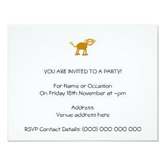 Niedlicher Affe 10,8 X 14 Cm Einladungskarte