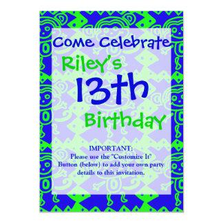 Niedlicher Affe-blaues Limones grünes Tiermuster 12,7 X 17,8 Cm Einladungskarte