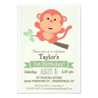 Niedlicher Affe, der Geburtstags-Party des 12,7 X 17,8 Cm Einladungskarte