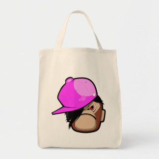 Niedlicher Affe in der rosa Apfel emo Arttasche Leinentaschen