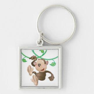 niedlicher Affe Keychain Silberfarbener Quadratischer Schlüsselanhänger