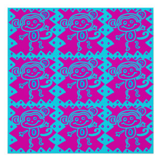 Niedlicher Affe-magentarotes aquamarines Tiermuste Plakate