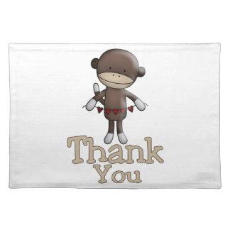 Niedlicher Affe mit Herzen danken Ihnen Stofftischset