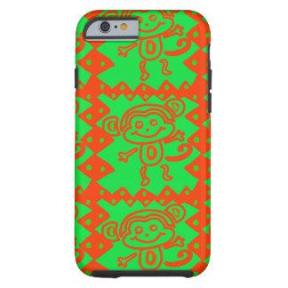 Niedlicher Affe-orange grünes Tiermuster Tough iPhone 6 Hülle