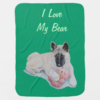 Niedlicher Akita-Sloganrosa Teddybärn-Vorlagenhund Puckdecke