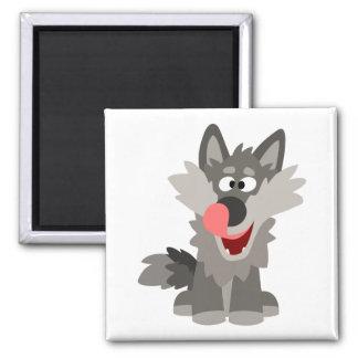 Niedlicher alberner Cartoon-Wolf Quadratischer Magnet