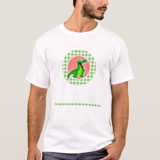 Niedlicher Alligator; Grüner Gingham T-Shirt