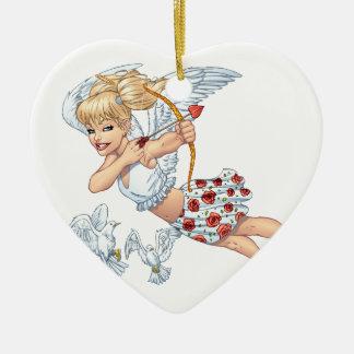 Niedlicher Amor-Engel mit Liebe-Pfeil durch Al Rio Keramik Herz-Ornament
