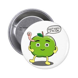 niedlicher Apple mit niedlichem Wurm Anstecknadelbutton
