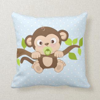 Niedlicher Baby-Affe-blaues Kissen