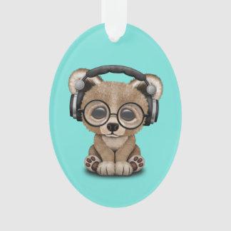 Niedlicher Baby-Bärn-tragende Kopfhörer Ornament