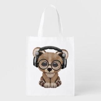 Niedlicher Baby-Bärn-tragende Kopfhörer Wiederverwendbare Einkaufstasche