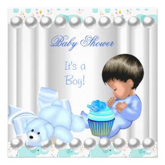 Niedlicher Baby-Duschen-Jungen-Blaukleiner kuchen Einladungskarten