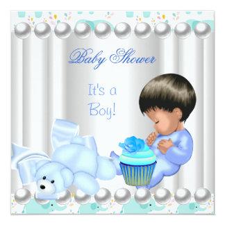 Niedlicher Baby-Duschen-Jungen-Blaukleiner kuchen Quadratische 13,3 Cm Einladungskarte