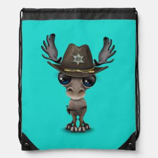 Niedlicher Baby-Elch-Sheriff Turnbeutel