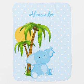 Niedlicher Baby-Elefant-blaue Babydecke