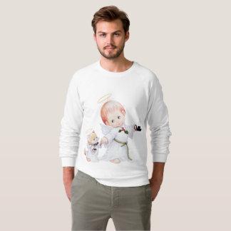 Niedlicher Baby-Engel und Katze Sweatshirt