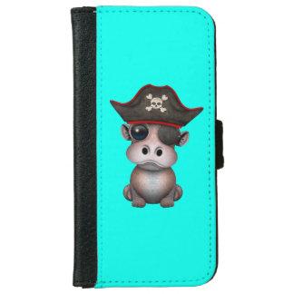 Niedlicher Baby-Flusspferd-Pirat iPhone 6/6s Geldbeutel Hülle